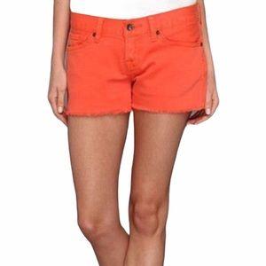 Lucky Brand 4 27 Riley Orange Frayed Jean Shorts